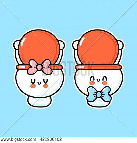 Cute Funny Happy White Boy And Girl Toilet Bowl. Vector Hand Drawn Cartoon Kawaii Character Illustra