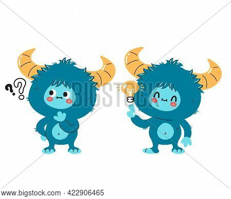 Cute Funny Yeti Monster Character With Question Mark And Idea Lightbulb. Vector Hand Drawn Cartoon K
