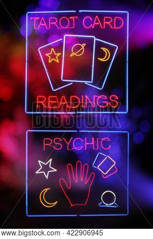 Tarot Card And Psychic Readings Neon Sign Composite