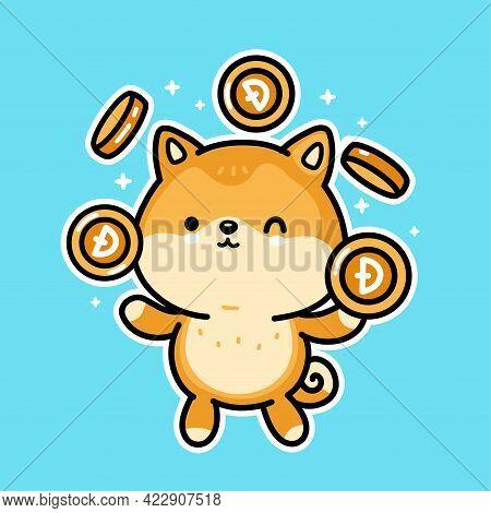 Cute Funny Akita Inu Dog Juggle Gold Dogecoin Coins Character. Vector Hand Drawn Cartoon Kawaii Char