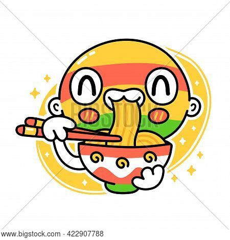 Cute Funny Person In Mask Eat Noodles From Bowl. Vector Hand Drawn Cartoon Kawaii Character Illustra