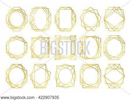 Cards Design Geometric Golden Frames. Simple Gold Frame Textures For Wedding Card Or Decorative Invi