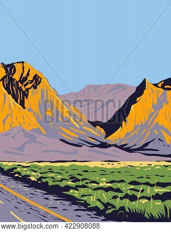 Wpa Poster Art Of The Chisos Mountains Or Chisos Located In Big Bend National Park In The The Trans-