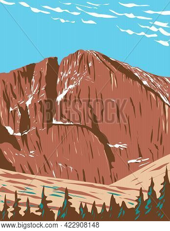 Wpa Poster Art Of Longs Peak In The Northern Front Range Of The Rockies Or Rocky Mountains Within Th