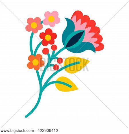 Flower Or Floral Vector Of Bright Colorful Blooming Plants. Ethnic Style Or Folk Ornament. Blossoms,