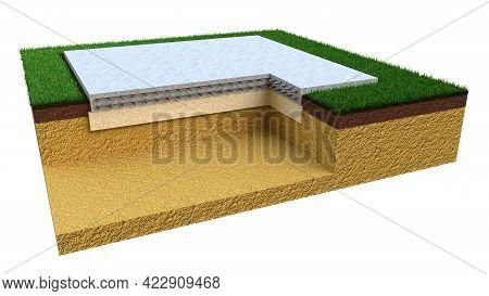 Poured Reinforced Concrete Slab Base - Isolated Industrial 3d Illustration