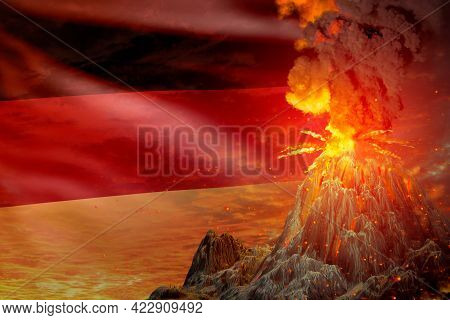 Big Volcano Blast Eruption At Night With Explosion On Germany Flag Background, Troubles Because Of E