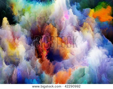 Design made of colorful fractal turbulence to serve as backdrop for projects related to fantasy dreams creativity imagination and art poster