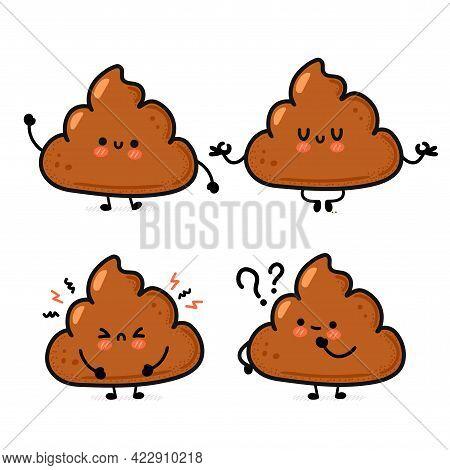Cute Funny Smile Happy And Sad Poop Set Collection. Vector Hand Drawn Cartoon Kawaii Character Illus