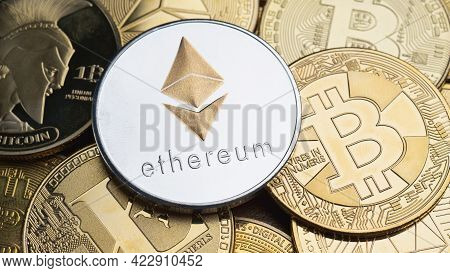 Cryptocurrency Bitcoin Global Ethereum And Electronic Coin Popular In Global Business And As A Safe