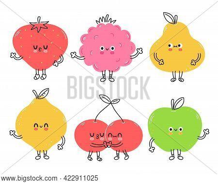 Cute Funny Fruits Set Collection. Vector Hand Drawn Cartoon Kawaii Doodle Character Illustration Ico