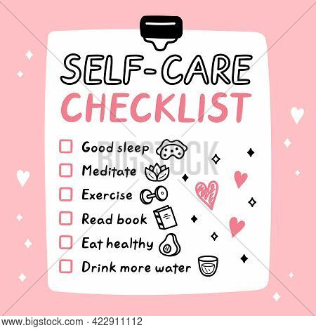 Cute Funny Self-care To Do List, Checklist. Vector Hand Drawn Cartoon Kawaii Character Illustration