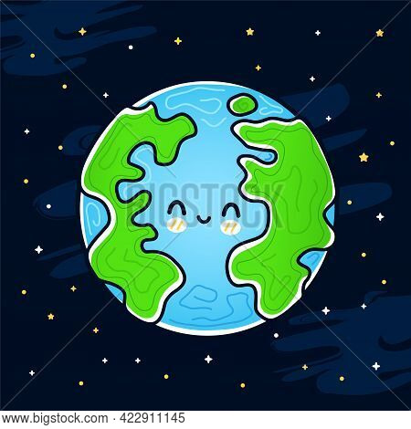 Cute Funny Happy Smile Earth Planet In Space. Vector Hand Drawn Cartoon Kawaii Character Illustratio