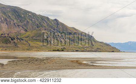 Panoramic Spring Landscape At Great Salt Lake State Park In Utah