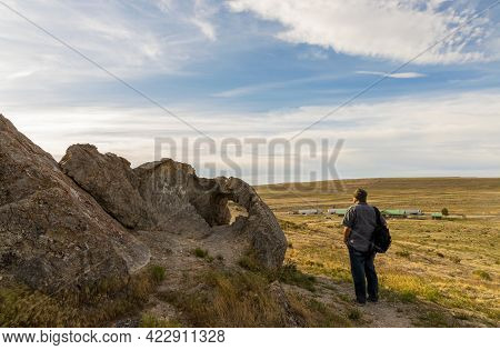 Panoramic Spring Landscape Along The I-80 Highway In Utah. A Tourist Walking On The Trail