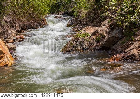 Scenic Big Cottonwood Creek In Wasatch Mountains Near Salt Lake City, Utah