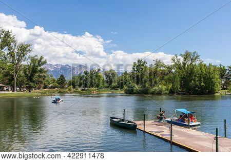 Salt Lake City, Utah - May 31, 2021: The Pond With A Boat Pier In Liberty Park In Downtown Salt Lake
