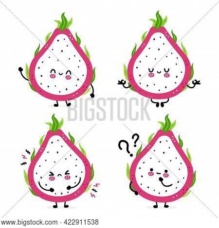 Cute Funny Dragon Fruit Set Collection. Vector Hand Drawn Cartoon Kawaii Character Illustration Icon