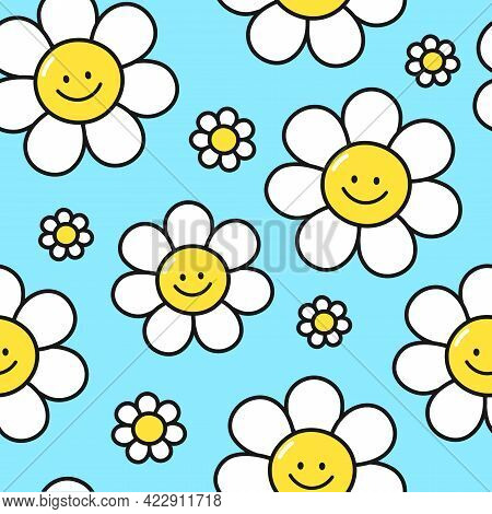 Cute Funny Smile Flowers On Blue Background Seamless Pattern. Vector Flat Cartoon Kawaii Character I
