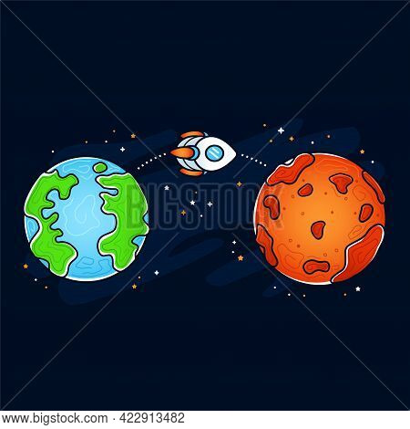 Mars And Earth Planet. Rocket, Space Ship Flying Mission. Vector Hand Drawn Cartoon Illustration Ico