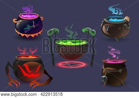 Witch Cauldrons With Magic Potions And Elixir Boiling. Wizard Pots With Colorful Liquid And Smoke. U