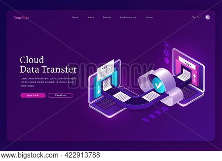 Cloud Data Transfer Banner. Online Technologies For Exchange Files And Documents Between Computers,