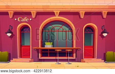 City Cafe, Coffee House Exterior With Outdoor Bar Counter And High Chairs Front Of Arched Window. Ca