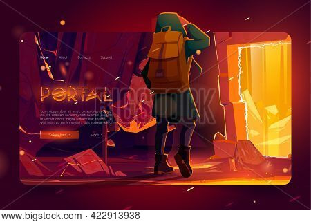 Portal Banner With Man In Mountain Cave With Ancient Stone Arch With Golden Glow. Vector Landing Pag