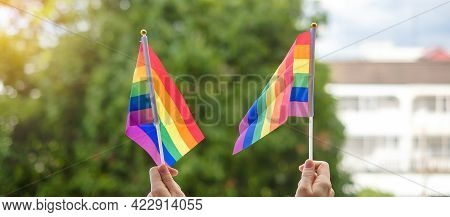 Hands Showing Lgbtq Rainbow Flag On Green Nature Background. Support Lesbian, Gay, Bisexual, Transge