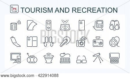 A Set Of Vector Illustrations, Icons Of Electronic Devices From A Thin Line. Computer, Navigator, Bi