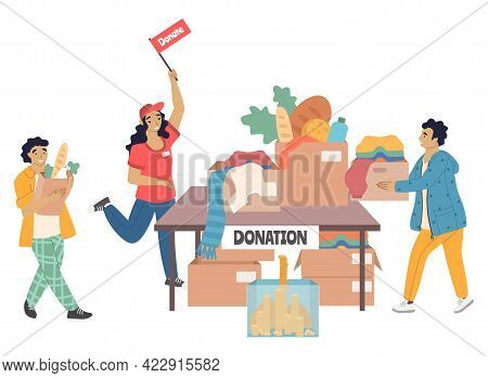Volunteers Collecting Money, Groceries, Clothes For Homeless, Vector Illustration. Volunteering, Don