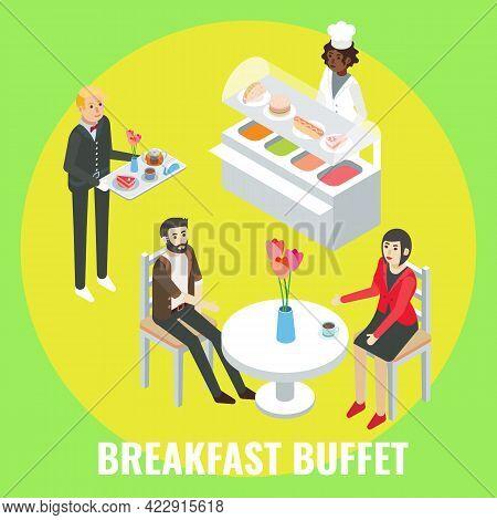 Hotel Guests Having Breakfast In Restaurant, Flat Vector Isometric Illustration. Breakfast Buffet Ho