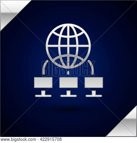 Silver Computer Network Icon Isolated On Dark Blue Background. Laptop Network. Internet Connection.