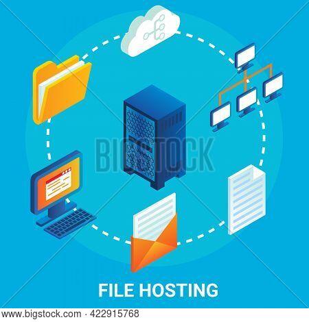 File Hosting Service Flowchart, Vector Illustration. Isometric Server Racks, File Folder, Computer,