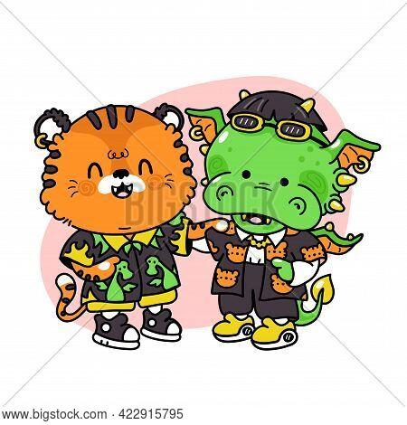 Cute Funny Tiger And Dragon Friends. Vector Hand Drawn Cartoon Kawaii Character Illustration Icon. I