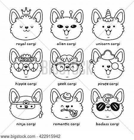 Cute Happy Corgi Dog Face Set Collection. Vector Line Cartoon Kawaii Character Icon. Hand Drawn Styl