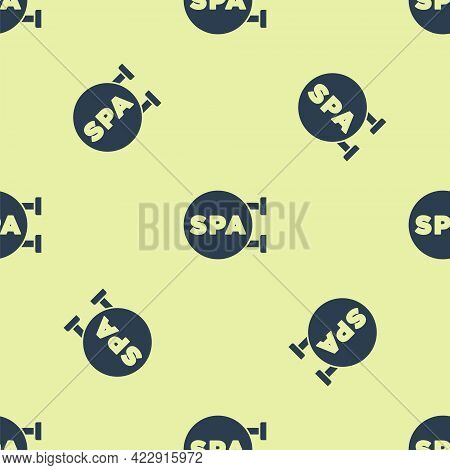 Blue Spa Salon Icon Isolated Seamless Pattern On Yellow Background. Concept For Beauty Salon, Massag
