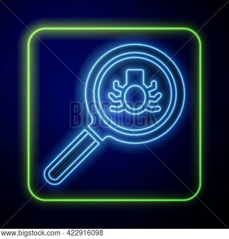 Glowing Neon Flea Search Icon Isolated On Blue Background. Vector