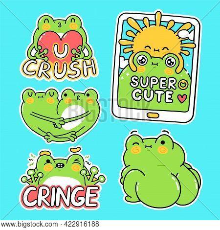 Cute Funny Green Frog Stickers Set Collection. Vector Hand Drawn Cartoon Kawaii Character Illustrati
