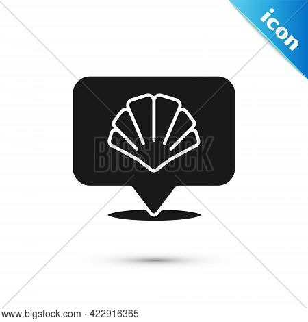 Grey Scallop Sea Shell Icon Isolated On White Background. Seashell Sign. Vector