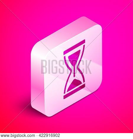 Isometric Old Hourglass With Flowing Sand Icon Isolated On Pink Background. Sand Clock Sign. Busines