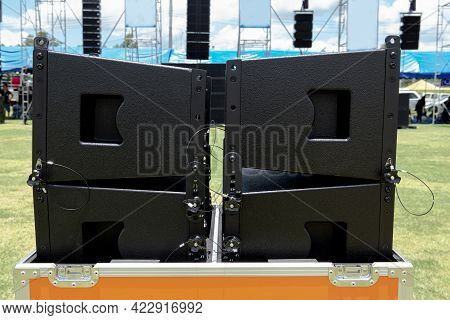 Side View Of High Frequency Speakers For Concerts Waiting To Be Installed