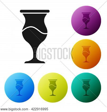 Black Jewish Goblet Icon Isolated On White Background. Jewish Wine Cup For Kiddush. Kiddush Cup For