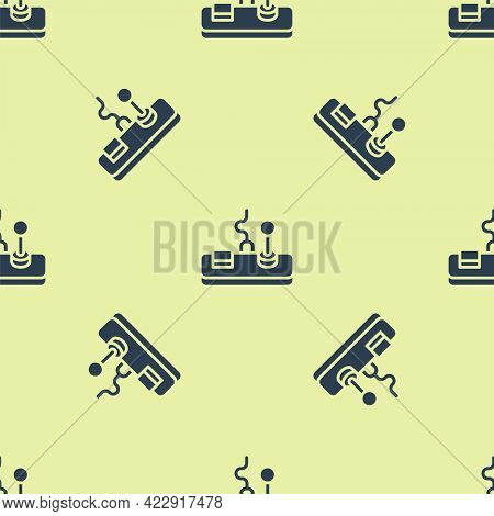 Blue Gamepad Icon Isolated Seamless Pattern On Yellow Background. Game Controller. Vector