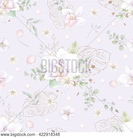 Seamless Pattern. Spring Delicate Orchid Flowers. Digital Printing