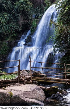 Pha Dok  Seaw Waterfall Or Rak Jang Waterfall In Doi Inthanon National Park,thailand,most Famous In