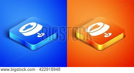 Isometric Stain On The Tablecloth Icon Isolated On Blue And Orange Background. Square Button. Vector