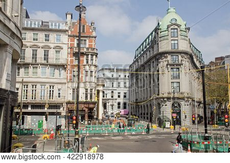 London, Uk - April 21, 2021: Slightly Elevated View Of Roadworks At The Junction Of The Strand And L