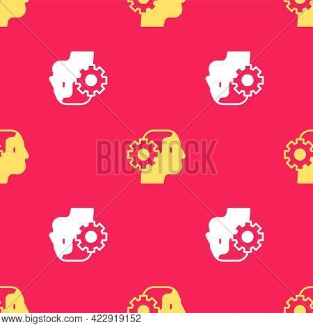 Yellow Humanoid Robot Icon Isolated Seamless Pattern On Red Background. Artificial Intelligence, Mac