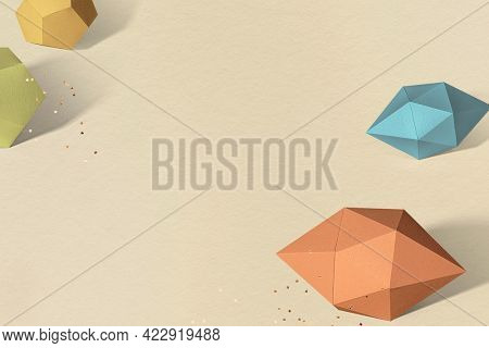 3D colorful elongated hexagonal bipyramid and gray pentagon dodecahedron design element